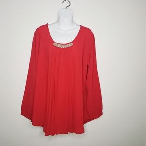 Anthony Richards Red Pleat Blouse Size 18W